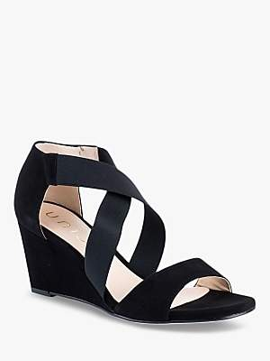 Unisa Diana Wedge Heel Sandals, Black Suede