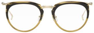 Issey Miyake Brown Half Pentagon 2 Glasses