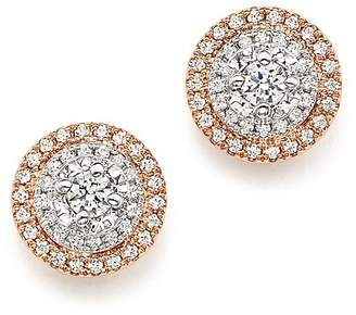 Bloomingdale's Diamond Halo Stud Earrings in 14K White & Rose Gold, .50 ct. t.w.