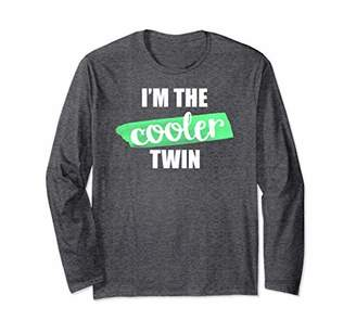 Funny Twin Long Sleeve Shirt I'm The Cooler Sibling Family