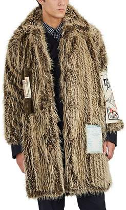 Martine Rose Men's Flyer-Appliquéd Faux-Fur Coat - Beige, Tan