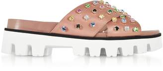 RED Valentino Cammeo Satin Slide Sandals w/Crystals