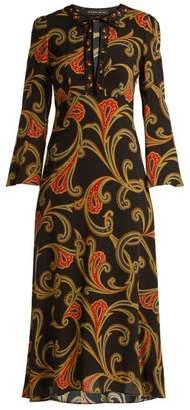Etro Rosolite Paisley Print Tie Neck Dress - Womens - Black Multi
