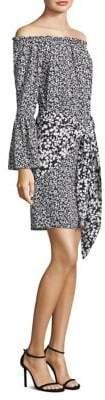 Michael Kors Floral Crepe De Chine Pareo Skirt