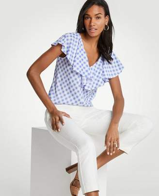 Ann Taylor Diagonal Check Ruffle V-Neck Top