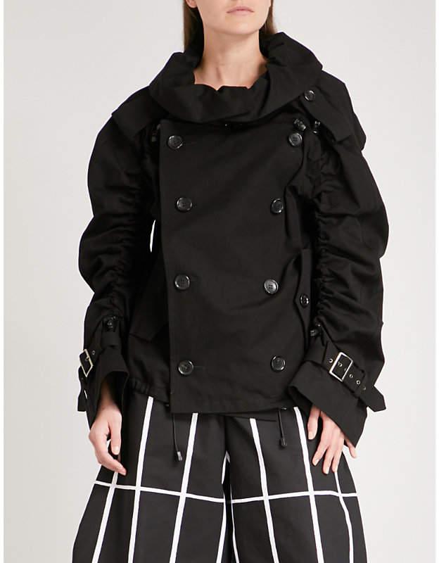 Gathered-sleeve cotton jacket