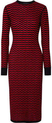 Marc Jacobs Striped Merino Wool Midi Dress - Red