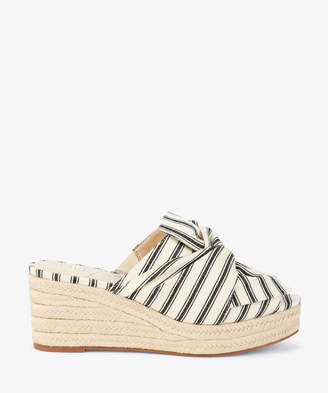 Sole Society Women's Carima Tie Espadrille Wedges Cream Black Size 5 Fabric From