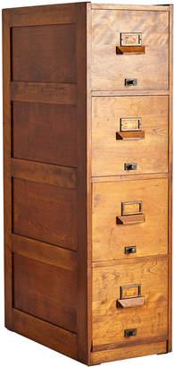 Rejuvenation Tall Maple Filing Cabinet w/ Brass Hardware