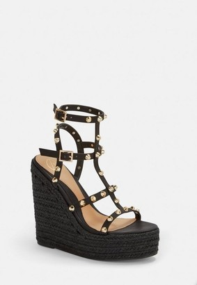 260ca1cefa08 Missguided Black Dome Stud Wedges