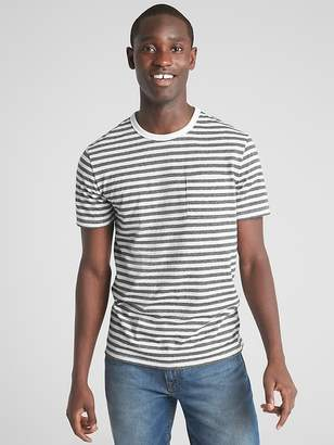 Gap Marled Stripe Pocket T-Shirt