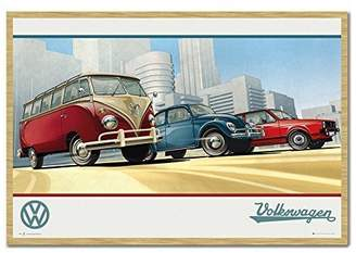 Camper VW Beetle And Golf Retro Style Poster Magnetic Notice Board Beech Framed - 96.5 x 66 cms (Approx 38 x 26 inches)