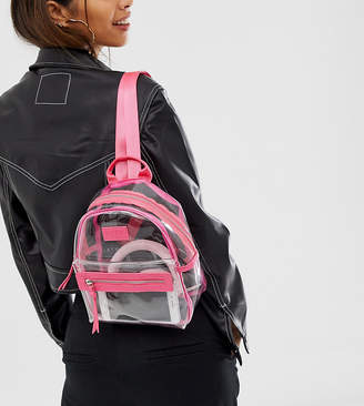 clear Spiral HXTN backpack with pink trim