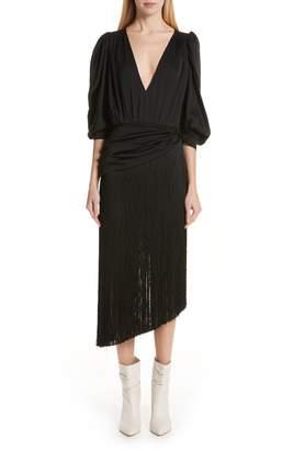 Magda Butrym Wels Asymmetrical Fringe Skirt Silk Dress