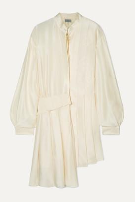 Preen by Thornton Bregazzi Kinesha Asymmetric Pleated Silk-satin Dress - White