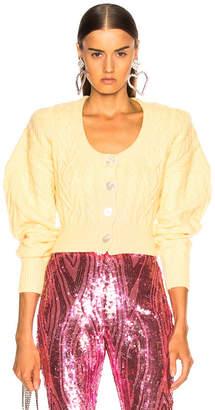 ATTICO Cropped Cardigan in Yellow | FWRD