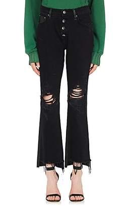 Amiri Women's Distressed Denim & Leather Crop Jeans - Black