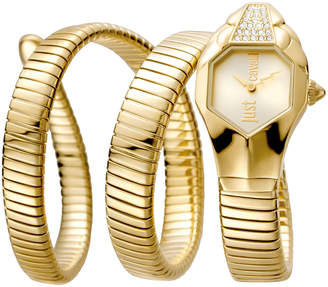 Just Cavalli 22mm Glam Chic Coil Bracelet Watch, Yellow Golden