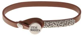 Steve Madden Brown Leather Button & Loop Closure Bracelet