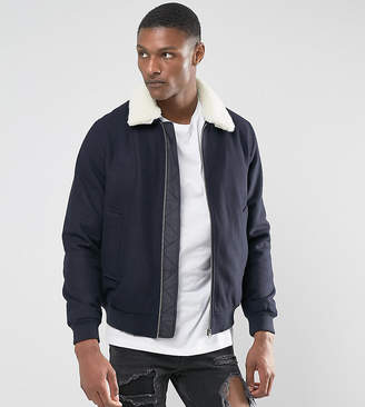 Asos DESIGN TALL Wool Mix Harrington Jacket With Fleece Collar In Navy
