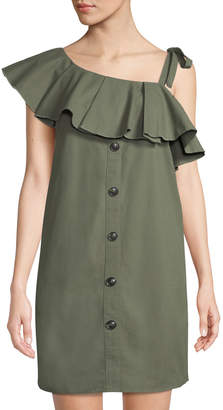 ENGLISH FACTORY Pleated One-Shoulder Button-Front Mini Dress