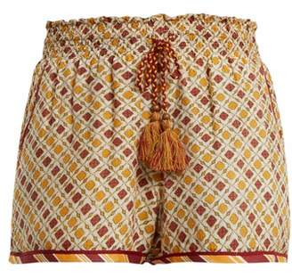 Talitha - Tutsi Graphic Print Cotton And Silk Blend Shorts - Womens - Orange