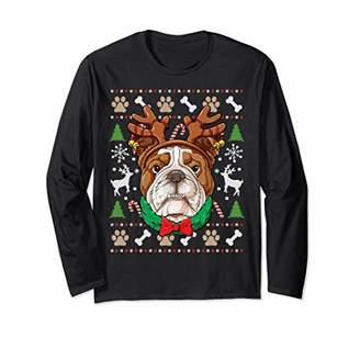 English Bulldog Christmas Shirt Reindeer Antlers Dog Women