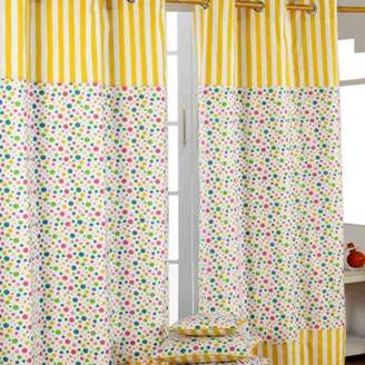 Camilla And Marc Homescapes Multi Polka Dots Ready Made Eyelet Curtain Pair, 137 X 182 Cm Drop