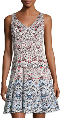 Maggy London Graphic-Print Fit-and-Flare Dress, Multi Pattern $89 thestylecure.com