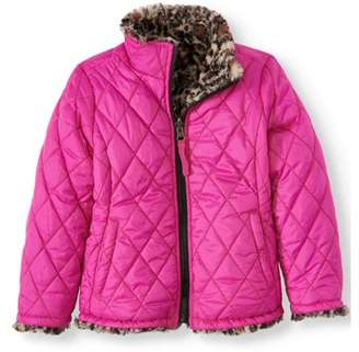 Bhip BHIP Toddler Girl Reversible Faux Fur and Quilted Winter Jacket
