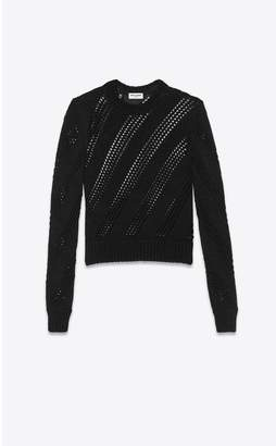 Saint Laurent Cropped Knitted Sweater In Viscose And Silk