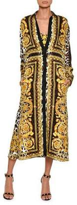 Versace Long-Sleeve Silk Twill Baroque-Print Midi Dress