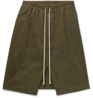 Rick Owens Pod Stretch-Cotton Drill Drawstring Shorts - Army green