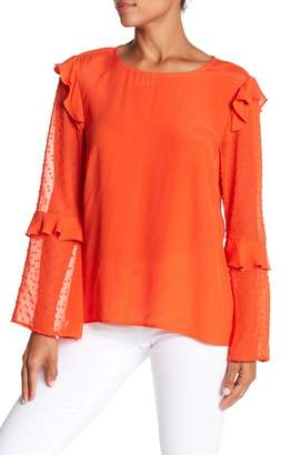 Nicole Miller New York Swiss Dot Ruffle Blouse