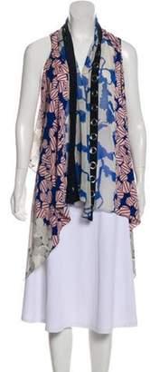 Diane von Furstenberg Serape Grommets Asymmetrical Floral Print Cardigan Blue Serape Grommets Asymmetrical Floral Print Cardigan