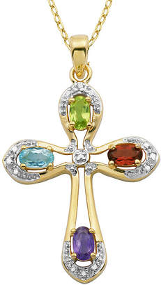 JCPenney FINE JEWELRY Multi-Gemstone and Diamond-Accent Two-Tone Cross Pendant