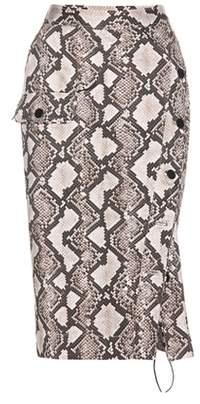 Altuzarra Snakeskin-printed cotton skirt