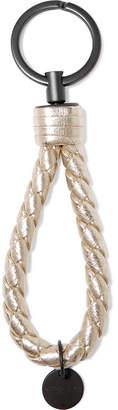 Bottega Veneta Metallic Intrecciato Leather Keychain - Gold