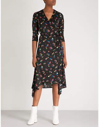 Mo&Co. Floral-print satin-jersey dress