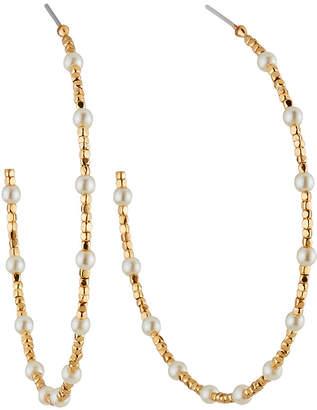Lydell NYC Pearly Beaded Hoop Earrings