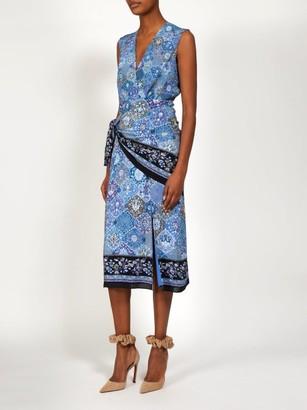 Altuzarra Sade Paisley Print Silk Wrap Dress - Womens - Blue Print