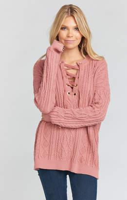 Show Me Your Mumu Lance Lace Up Sweater ~ Mauve Cable Knit