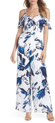 Julia Jordan Floral Cold Shoulder Jumpsuit