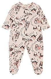 The Bonnie Mob Infants' Cat-Print Cotton Footed Playsuit - Pink