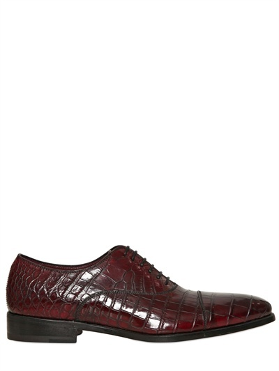 Crocodile Oxford Lace-Up Shoes