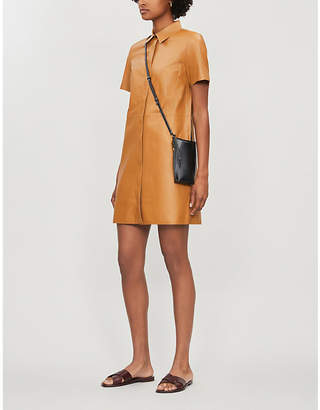 Theory Collared leather dress