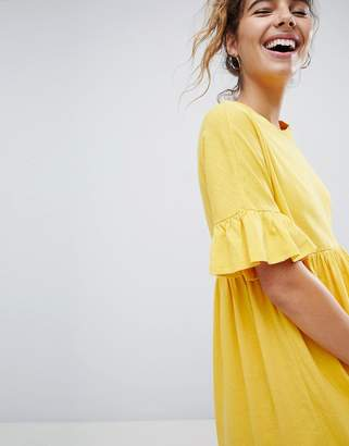 Asos DESIGN Cotton Slubby Frill Sleeve Smock Dress