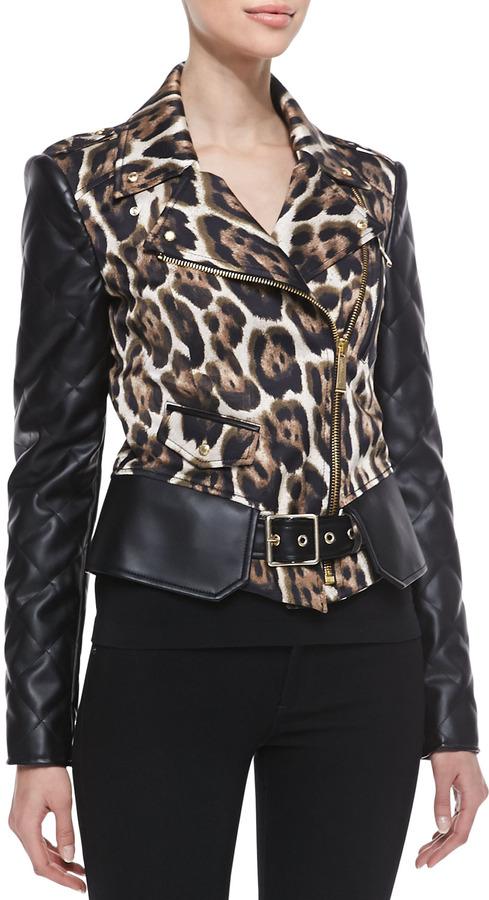 Just Cavalli Leopard Print Jacket with Side Zipper