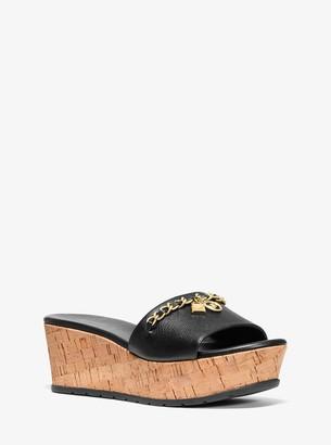 MICHAEL Michael Kors Elsa Leather and Cork Platform Sandal