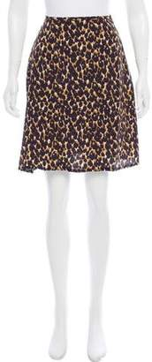 Halston Leopard Print Knee-Length Skirt